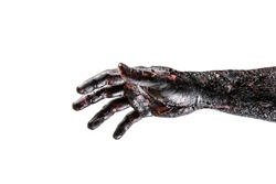 Creepy zombie hand isolated on white background with clipping path