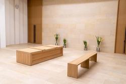 crematorium farewell hall pedestal for the coffin