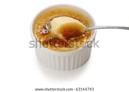 creme brulee , cream brulee , burnt cream , french dessert - stock photo