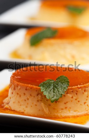 creme caramel on a square plate