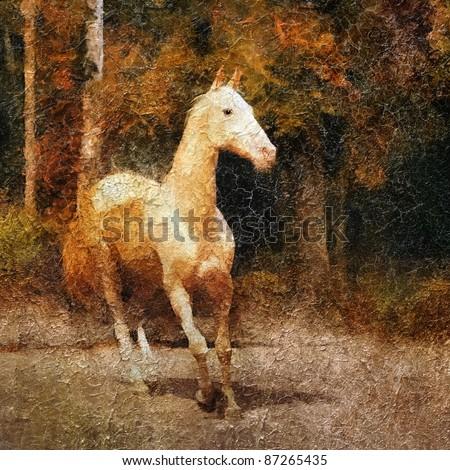 Cremello Akhal-Teke  horse portrait. Simulation of old painting style