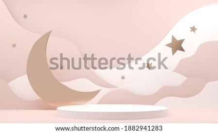Crescent, Moon, stars on Muslim feast. Holy islam religious month. Ramadan mubarak invitation paper cut. Sleep bedtime, World sleep day. Golden decor and copy space. Ramadan Kareem 3d illustration