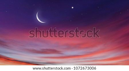 Crescent moon with beautiful sunset background . Generous Ramadan  #1072673006