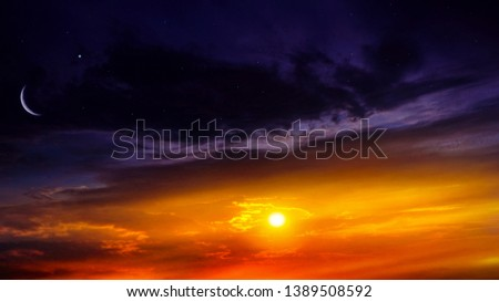 Crescent moon with beautiful sunset background . Generous Ramadan . Light from sky . Religion background .   #1389508592