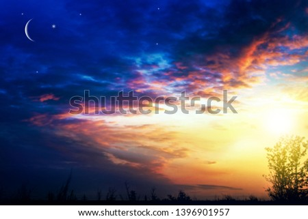 Crescent moon with beautiful sunset background . Generous Ramadan . Light from sky . Religion background .   #1396901957