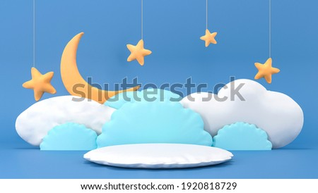Crescent moon with podium, stars, clouds - badtime card. Sweet dream plasticine base background. Cute illustration in pastel colors. Minimal 3d art style. Empty space for advertising baby products