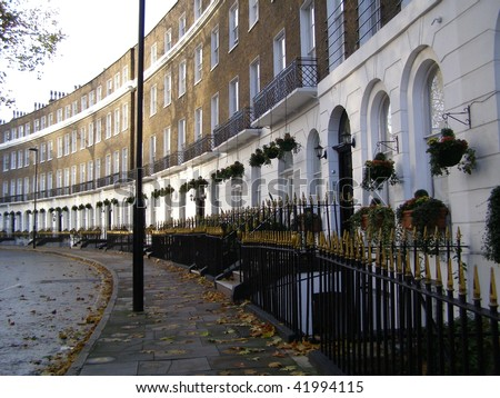 crescent - traditional row of terraced houses in London