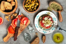 Cretan food raki with olive oil