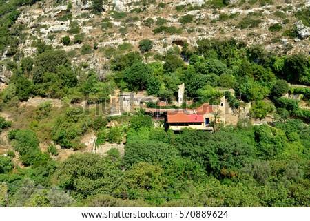 Crete Greece Myli Gorge valley landscape top view Zdjęcia stock ©