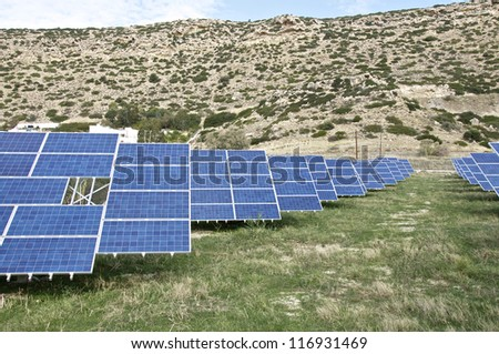 Crete, Greece. Renewable energy production. Solar cells for the production of electricity in the South of Crete