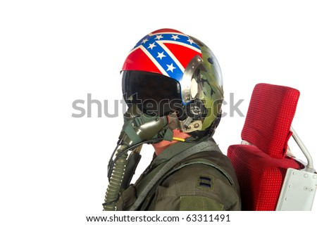 Crew American aircraft in full uniform isolated over white