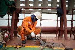 Crew Fixing Repairing Working Mother Vessel Deck
