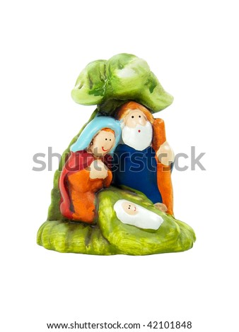 Crib with Jesus Mary and Joseph isolated over white background