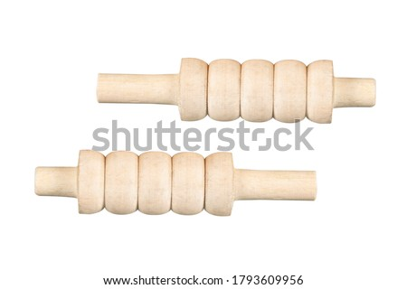 cricket bails isolated on white background, wooden cricket bail studio shot cutout