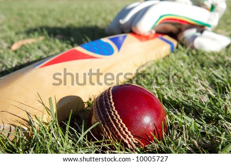 Cricket ball, bat and gloves on the field.
