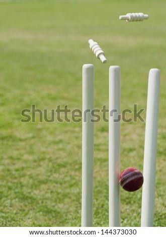 Cricket ball hitting stumps - stock photo