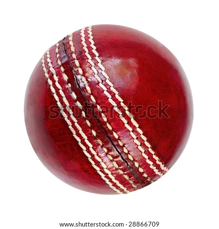 Stock Photo Cricket ball, isolated on white.  Classic red leather.