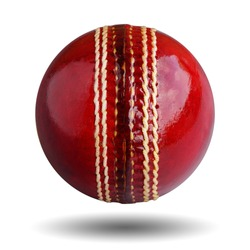 Cricket ball leather hard circle stitch close-up new isolated on white background. This has clipping path.  The sport team Popular in Australia, Bangladesh, England and India.