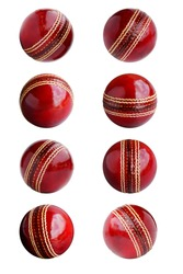 Cricket ball leather hard circle stitch close-up new isolated on white background. This has clipping path.
