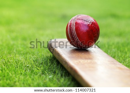 Photo of  Cricket ball resting on a cricket bat on green grass of cricket pitch