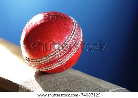 Cricket ball resting on a cricket bat with blue background