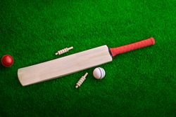 cricket bat and ball place on cricket ground pitch, green grass