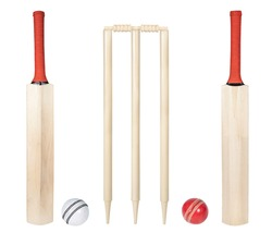 cricket bat, stumps, bails, red ball and white ball isolated on white background, wooden cricket bat all angles studio shot cutout