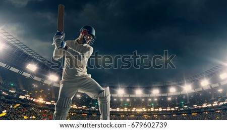 Photo of  Cricket Batsman in Action on a professional cricket stadium. The player wears unbranded clothes. The stadium is made in 3D with no existing references.
