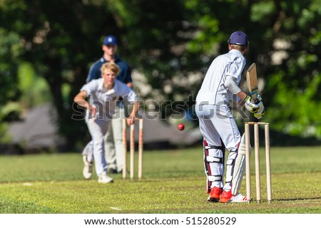 Cricket Batting Bowler Action Cricket game teenagers schools game batsman bowler action photo.