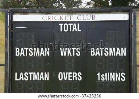 Cricket club scoreboard - stock photo