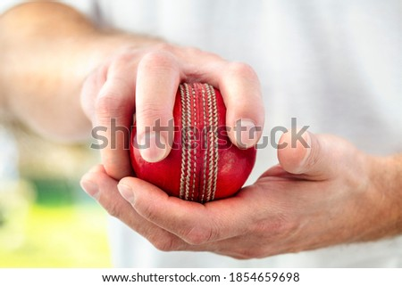 Cricket fast bowler holding ball close up approaching wicket Stockfoto ©