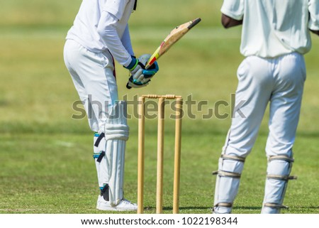 Cricket game action closeup unidentified abstract batsman wickets wicket keeper. - Shutterstock ID 1022198344