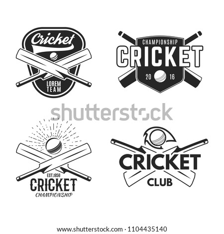 Cricket logo set, sports template emblems elements - ball, bat. Use as icons, badges, label designs or print. Cricket logo graphics. Stock illustration sport championship isolated on white.
