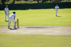 Cricket match at grassy field on sunny day