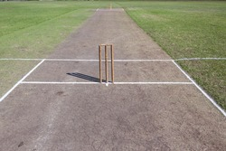Cricket Pitch Wickets Cricket field game pitch wickets bails white crease grass arena.