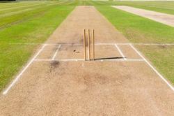 Cricket Pitch Wickets Ground Closeup Cricket field pitch's wickets markings grounds closeup summer sport.