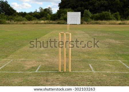 Cricket pitch with wicket and stumps