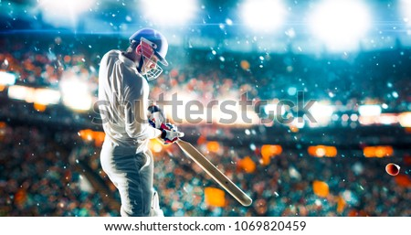 Cricket player on a professional stadium