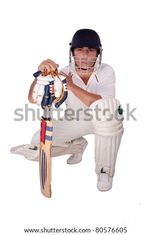 cricket player on white background