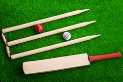 cricket set bat ball stumps and bails on green grass pitch background