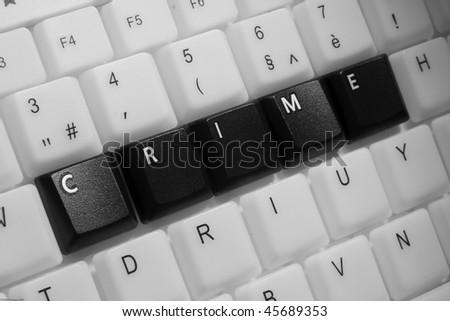 Crime phrase on a keyboard