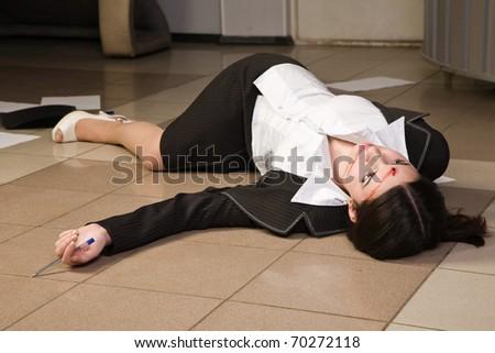 Crime scene in a office with dead secretary