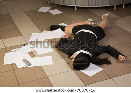 Crime scene in a office with dead secretary