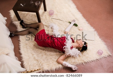 Crime scene in a retro style. Dead woman lying on the floor - stock ...