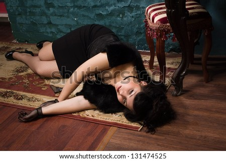 Crime scene in a vintage style. Victim lying on the floor