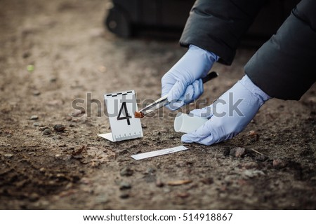 Crime scene investigation - collecting bullet of pistol on the ground - Shutterstock ID 514918867