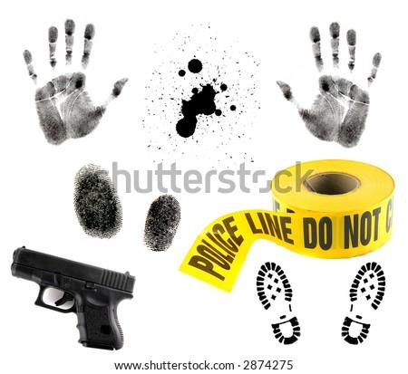 Crime Scene Items: Blood Spatter, Fingerprint, Handprint, Police Tape and 9mm Gun