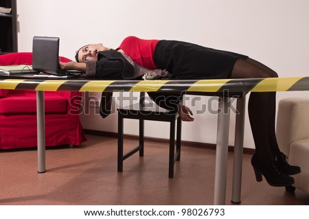 Crime scene simulation: dead secretary in a office