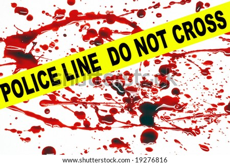 Crime scene tape across a blood stained pattern