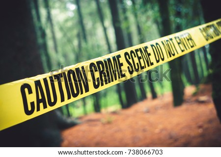 Crime scene tape in the woods / Selective focus #738066703